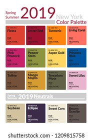 Spring Summer 2019 Color Palette New York. Colors of the Year. Palette fashion colors guide with named color swatches. Fashion color trend