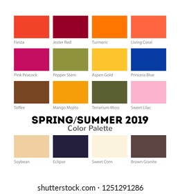 Spring and Summer 2019 Color Palette. Pantone fashionable colors collection. Vector fashion industry trends set isolated on white background.