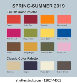 Spring /Summer 2019 Color Palette. Fashion color trend. Palette Guide with Named Color Swatches. Colors of the Year - living coral.Saturated and Classic Neutral Color Samples Set. Vector Illustration
