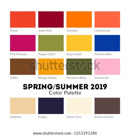 Spring Summer 2019 Color Palette Pantone Stock Vector Royalty Free