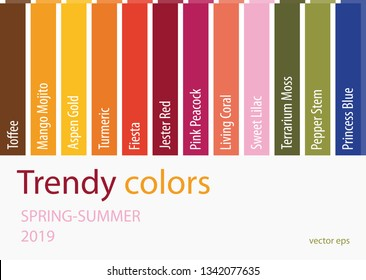 Spring Summer 2019 Color trends. Fashion Colours isolated on white background. Colour palette.