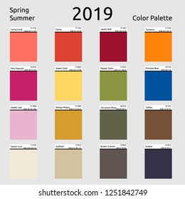 Spring Summer 2019 Colors Palette. Color of the year - living coral.  Fashion trend. Palette fashion colors guide with named color swatches.