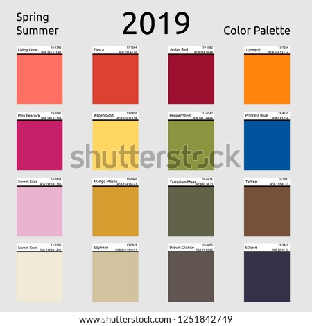 Spring Summer 2019 Colors Palette Color Stock Vector Royalty Free