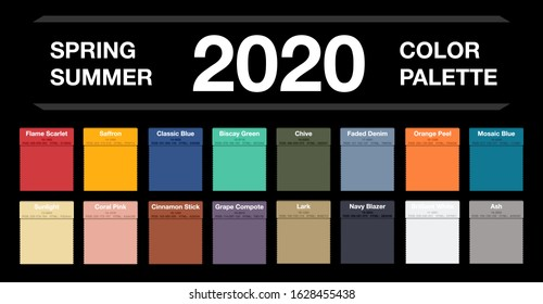 Spring and summer 2020 colors palette on black. Fashion trend guide. Palette fashion colors guide with named color swatches, RGB and HTML. Color of the year - Classic Blue. Vector illustration