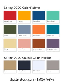 Spring / Summer 2020 Palette Example. Future Color Trend Forecast. Saturated and Classic Neutral Colour Samples Set. Palette Guide with Named Swatches Included in EPS File.