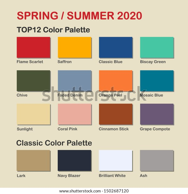 Spring Summer 2020 Color Trends.Spring Summer 2020 Trendy Color Palette Stock Vector