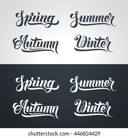 Spring Summer Autumn Winter hand lettering. Handmade vector calligraphy collection. Four seasons set