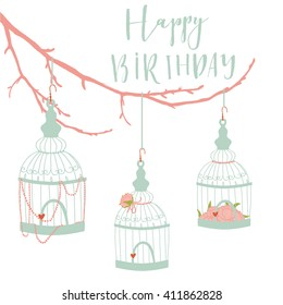 Spring and summer background with the branch, cute bird cages decorated with  blossom. Bright illustration, perfect for wedding invitation card, birthday and other holidays.