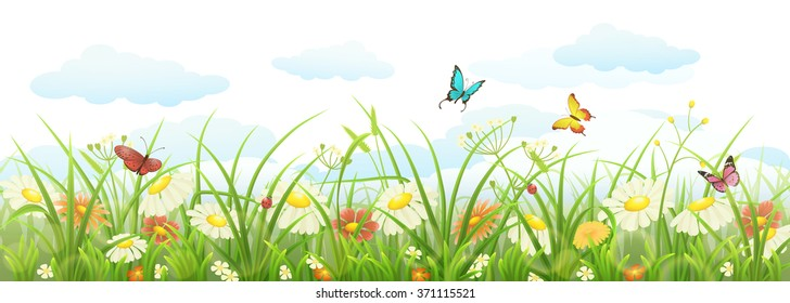 Spring summer banner with green grass, flowers and butterflies