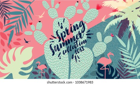 Spring Summer Collection 2018. Banner. Floral card. Spring blossom. Text. Seasonal holiday. Sale Poster, voucher discount. Fashion Memphis style background or wallpaper
