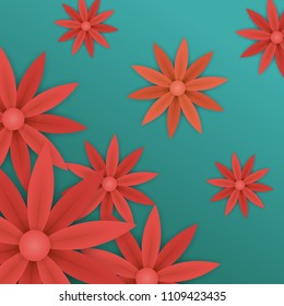 spring or summer floral wallpaper. paper flowers on blue background. plant elements for gift or present cards templates.