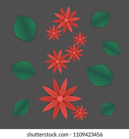 spring or summer floral wallpaper. paper flowers and leaves on grey background. plant elements for gift or present cards templates.