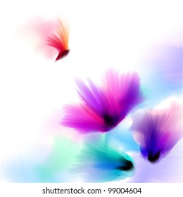 Spring and summer floral watercolor background vector