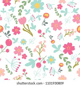 spring or summer flower blooming garden seamless colorful pattern