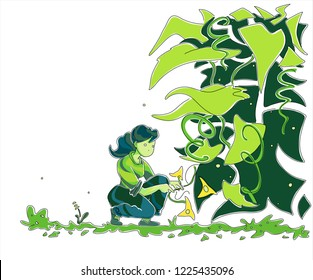 Spring - Summer gardening. Woman Taking care of plants. Outdoor fresh air activity in the garden. Hand drawn illustration.