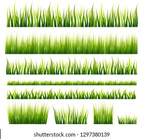 Spring and summer green grass borders set. Vector illustration. Meadow and garden. Can be used for banner, poster, flyer