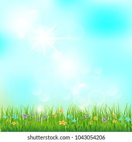 Spring or summer landscape, green grass, blue sky, sunlight, vector