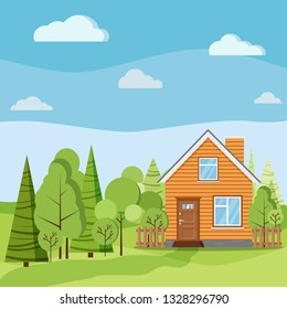 Spring or summer nature landscape scene with rural wooden farm house with chimney, fences, green trees, spruces, clouds, fields, road in cartoon flat style. Summer vector background illustration.