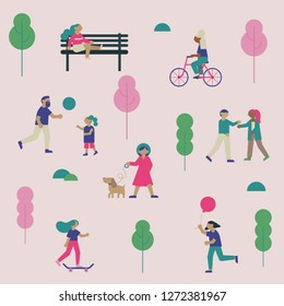 Spring or summer outdoor concept with flat vector people walking and relaxing on nature.