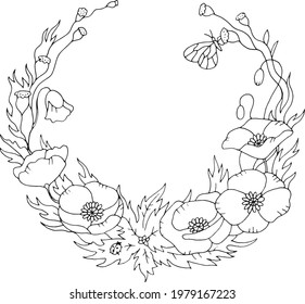 Spring or summer poppy floral nostalgic elegant romantic old fashioned wreath contour coloring page