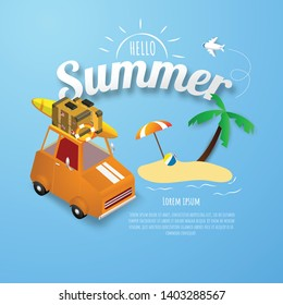Spring Summer poster, banner Orange car park at beach vector illustration and design for card,