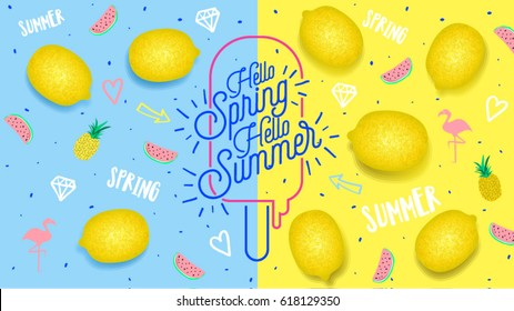Spring Summer poster, banner in trendy 80s-90s Memphis style. Lemon vector illustration, lettering and colorful design for poster, card, invitation. Easy editable for Your design.