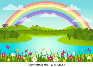 Spring and summer rural landscape with rainbow and lake. Vector illustration.
