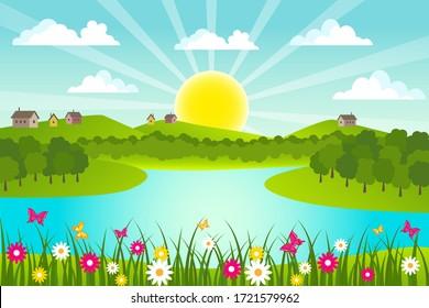 Spring and summer rural landscape. Vector illustration.