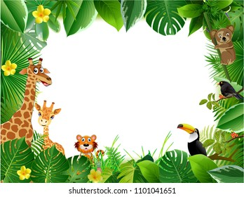 Spring or Summer Season Abstract Nature Banner Background.  with jungle plants.cartoon; jungle; animals;   Exotic pattern with tropical leaves. Vector Illustrations & Clipart.