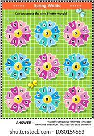 Spring or summer themed word puzzle (English language) with words written on petals around the flowers: Can you guess the nine 8-letter words? Answer included.