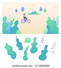 Spring and summer time, nature landscape. Leaves background. Girl riding a bicycle in park. Flat design, cartoon style illustration.