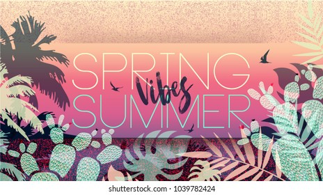 Spring Summer Vibes. Collection 2018. Banner. Floral card. Spring blossom. Text. Seasonal holiday. Sale Poster, voucher discount. Fashion Memphis style background or wallpaper