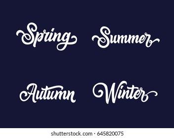 Spring Summer Winter Autumn text set