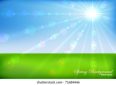 Spring sunshine horizontal vector background. EPS10 file.