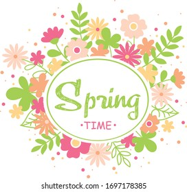 Spring template with colorful flowers and green leaves and oval frame with text Spring time on white background. Bright flower nature vector illustration. Fresh design for posters, flyers, cards.