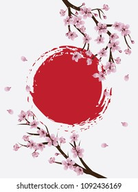 Spring themed banner with Sakura, cherry blossoms.