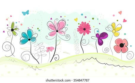 Spring time abstract colorful doodle flowers vector background
