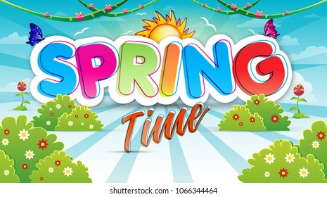 Spring time background with flowers and bushes.