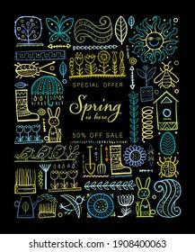 Spring time background. Gardening Frame Design. Happy Easter Art. Vector illustration
