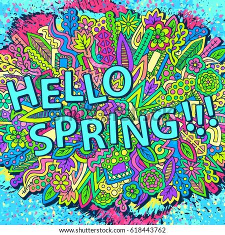 Zentangle doodles wallpaper. Tribal elements ornament. Spring floral texture.