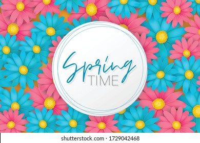 Spring time banner or brochure. Blue and pink realistic daisy flowers. Floral design wallpaper. Vector illustration.