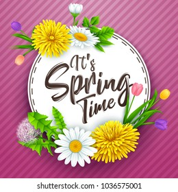 It's spring time banner with round frame and flowers on striped purple background