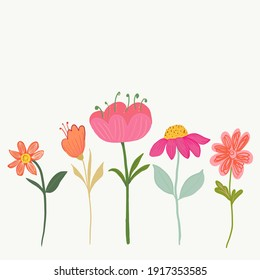 Spring time beautiful pink and orange flowers illustration blossom background. Spring summer time greeting card