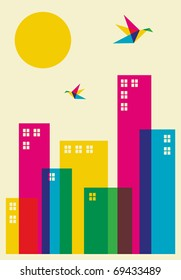 Spring time in the city. Full color humming birds flying over the city. Vector file available.