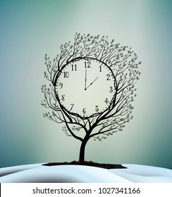 Spring time, spring clock, magic clock   willow catkin tree growing between the   melting, snow, vector,