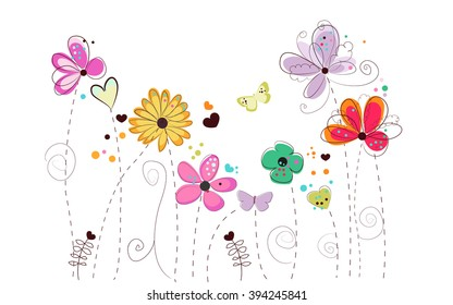 Spring time colorful doodle flowers. Abstract colorful floral vector background