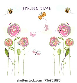 Spring time colorful flowers, bee, butterfly. Floral vector illustration background
