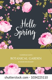 Spring time concept of card with blooming roses isolated over blue background. Vector illustration.
