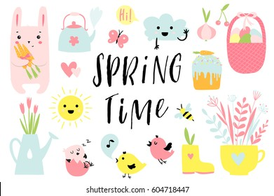 Spring time and easter collection of cute elements on white background. Cup, teapot, watering can, cake, egg bucket, birds, bunny, sun and cloud and much more. Perfect for cards, stickers