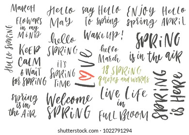 It's Spring time hand drawn brush lettering in black, isolated on white. Vector design lettering for spring sales, banners, advertisement, posters, prints, greeting cards, t-shirts